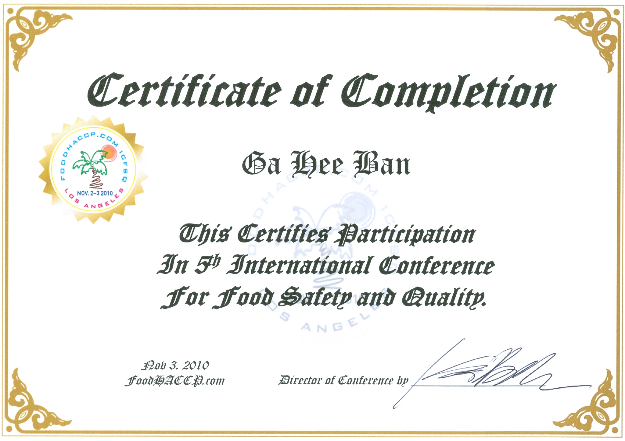 International conference for food safety and for International conference certificate templates