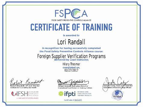 Fsma Fsvp 2 Day Training For Certificate